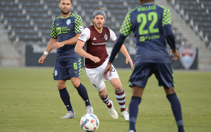 Dillon Powers of the Colorado Rapids delivered the corner kick in the 89th minute that Dennis Castillo headed in for the game-winning goal against the OKC Energy FC in the Fourth Round of the 2017 US Open Cup. Photo: Bart Young/Colorado Rapids