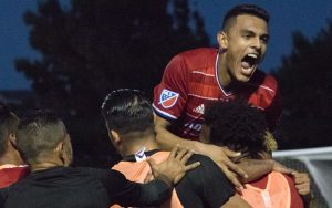 FC Dallas celebrates the game-winning goal against the Tulsa Roughnecks in the Fourth Round of the 2017 US Open Cup. Photo: FC Dallas