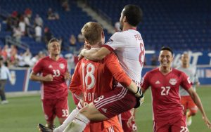 The New York Red Bulls celebrate the club's 5-3 PK win over the Philadelphia Union (after a 1-1 draw) in the Round of 16 in the 2017 US Open Cup. Photo: Bob Larson
