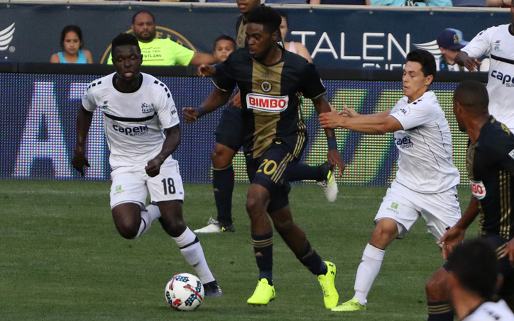 Philadelphia Union rookie Marcus Epps dribbles through the Harrisburg City Islanders defense in a Fourth Round match in the 2017 US Open Cup. Photo: Matt Ralph