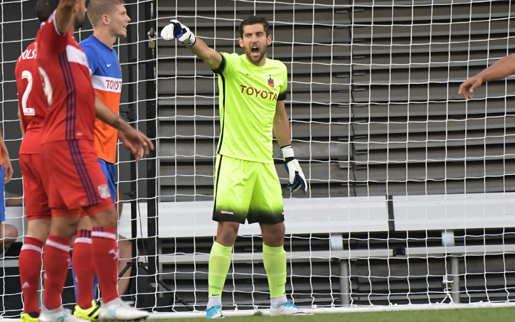 Mitch Hildebrandt of FC Cincinnati made faced 26 shots from the Chicago FIre and made 10 saves, include 3 stops in the penalty kick shootout. Photo: Erik Schelkun | FC Cincinnati