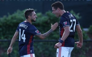 The New England Revolution celebrate one of the team's two goals against D.C. United in the Round of 16 of the 2017 US Open Cup. Photo: David Silverman | New England Revolution