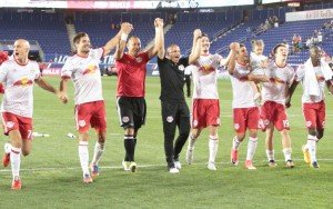 Chris Armas, who filled in for the suspended head coach Jesse Marsch, celebrates the New York Red Bulls' 1-0 win over NYCFC in the Fourth Round of the 2017 US Open Cup. Photo: Bob Larson