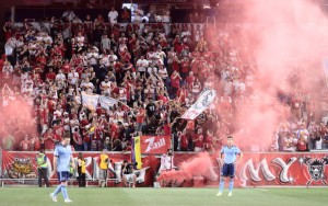 New York Red Bulls supporters were in full voice as their club defeated their rivals from NYCFC 1-0 in the Fourth Round of the 2017 US Open Cup. Photo: Bob Larson