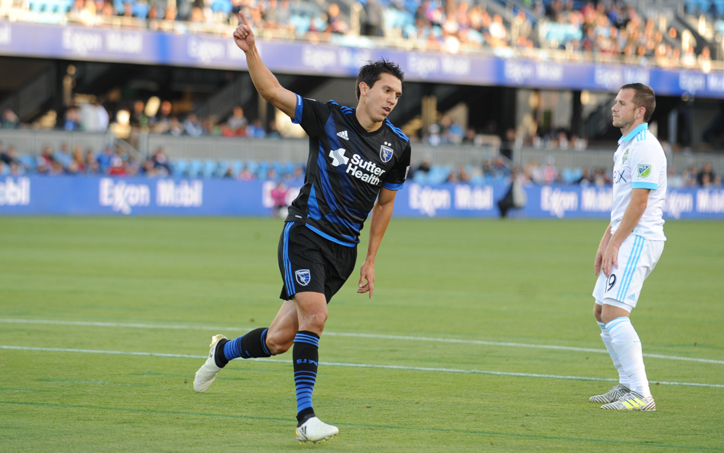Shea Salinas of the San Jose Earthquakes celebrates his opening goal against the Seattle Sounders in the Round of 16 in the 2017 US Open Cup. Photo: San Jose Earthquakes