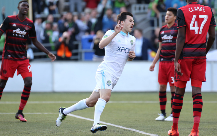 Aaron Kovar of the Seattle Sounders celebrates his 3rd minute goal in the club's Fourth Round match against the Portland Timbers in the 2017 US Open Cup. Photo: Seattle Sounders
