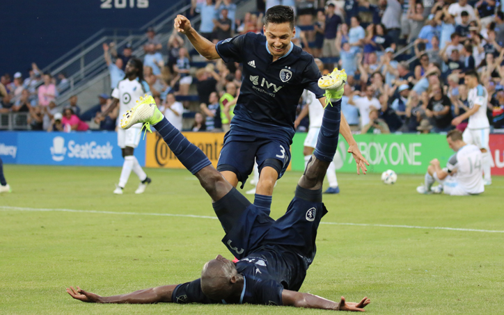 Ike Opara of Sporting KC celebrates his goal against Minnesota United in the Fourth Round of the 2017 US Open Cup. Photo: Sporting KC