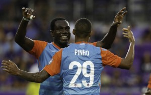 Stefano Pinho of Miami FC celebrates one of this three goals  against Orlando City SC (MLS) in the Fourth Round of the 2017 US Open Cup. Photo: Miami FC