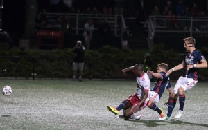 Bradley Wright Phillips of the New York Red Bulls scores the game-winning goal against the New England Revolution in the 2017 US Open Cup. Photo: Bob Larson