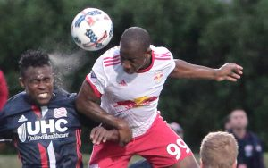 Bradley Wright Phillips of the New York Red Bulls rises up for a header against the New England Revolution in the 2017 US Open Cup. Photo: Bob Larson