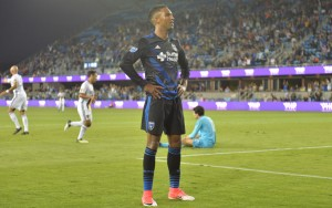 Danny Hoesen of the San Jose Earthquakes strikes a pose after scoring the third goal of the game (his second of the tournament) against the LA Galaxy in the Quarterfinals of the 2017 US Open Cup. Photo: ISI Photos | San Jose Earthquakes