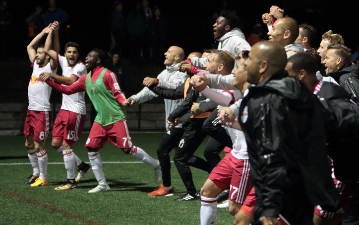 The New York Red Bulls celebrate their 1-0 win over the New England Revolution in the 2017 US Open Cup. Photo: Bob Larson