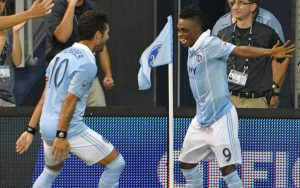 Latif Blessing (right) and Benny Failhaber of Sporting Kansas City celebrate during a 3-1 win over FC Dallas in the 2017 US Open Cup. Photo: Denny Medley-USA TODAY Sports | Sporting KC