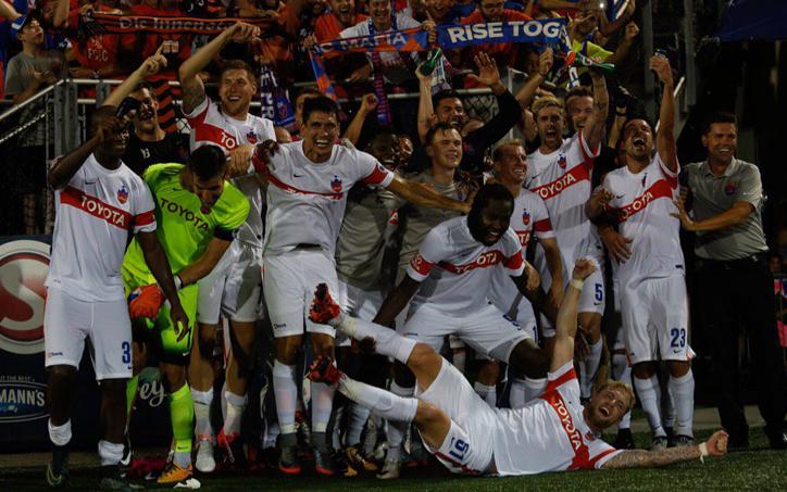 FC Cincinnati celebrate their 1-0 win over Miami FC in the US Open Cup Quarterfinals. Photo: The Miami FC