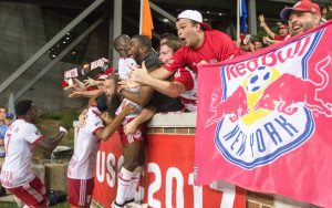 The New York Red Bulls celebrate the game-winning goal against FC Cincinnati in the 101st minute in the 2017 US Open Cup Semifinals. Photo: Ryan Meyer | New York Red Bulls