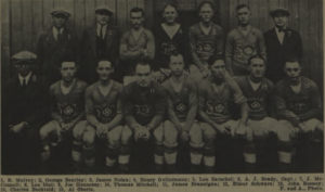 Players and coaches from Scullin Steel in 1923. Photo: 1923-24 Spalding Soccer Football Guide