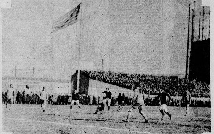 Action from the 1923 National Challenge Cup Final between Paterson FC (Paterson, NJ) and Scullin Steel (St. Louis, MO). 15,000 fans were in attendance at Harrison Field on April 1, 1923. Photo: St. Louis Post-Dispatch