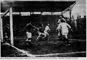 Action from the 1923 National Challenge Cup Western Final (National Semifinals) between Scullin Steel and Arden FC of Western Pennsylvania. Scullin Steel won 2-1 at High School Field in St. Louis. Photo; St. Louis Post-Dispatch