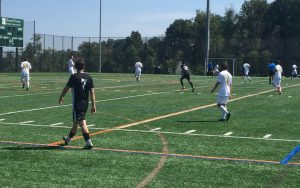 Aegean Hawks (black) take on Christos FC in a 2018 US Open Cup qualifying match. Photo: Sean Maslin