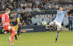 Daniel Salloi of Sporting KC scores what would prove to be the game-winner in the 66th minute against the New York Red Bulls in the 2017 US Open Cup Final. Photo: Bob Larson