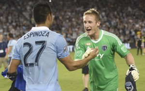 Tim Melia and Roger Espinoza of Sporting Kansas City celebrate the club's 2017 US Open Cup championship. These two players were the top two vote-getters for TheCup.us Player of the Round. Photo: Sporting KC