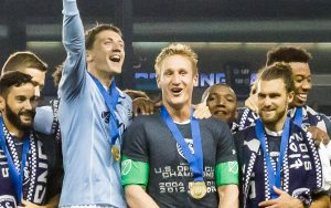 Tim Melia celebrates the 2017 US Open Cup championship with his Sporting Kansas City teammates. Photo: Bob Larson
