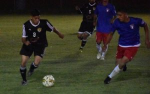 Edwin Rodriguez of Academica SC dribbles the ball against Oakland Pamperos in the 2018 US Open Cup qualifying tournament. Photo: Brittney Virgo
