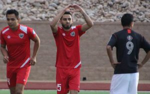 Steven Robellada of Indios Denver FC salutes the fans in the stands in a 2018 US Open Cup qualifying match against IPS/Marathon Taverna. Photo: Indios Denver FC