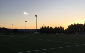 The sun starts to set at Rob Strasser Memorial Field in Portland as International Portland Select hosts Boise FC Cutthroats in 2018 US Open Cup qualifying. Photo: Kristen Gehrke