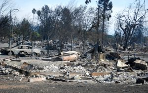Burned-out cars and charred homes cover the landscape in Santa Rosa, Calif. on Oct. 14, 2017, after the wildfires that spread across Sonoma County, California. Photo: California National Guard | Capt. Will Martin/Released (Flickr)