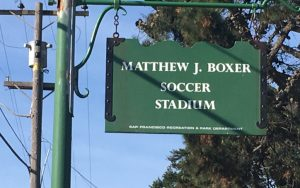 The entrance sign at Matthew J. Boxer Soccer Stadium on Nov. 19, 2017. Boxer Stadium first opened back in 1953. Photo: Thomas