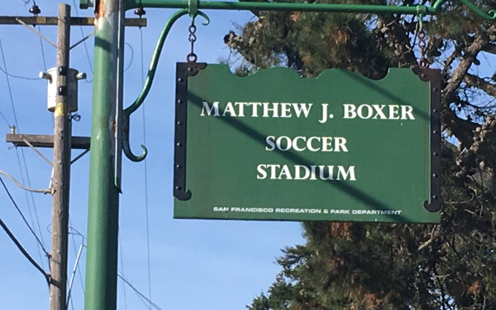 The entrance sign at Matthew J. Boxer Soccer Stadium on Nov. 19, 2017. Boxer Stadium first opened back in 1953. Photo: Thomas Hodul