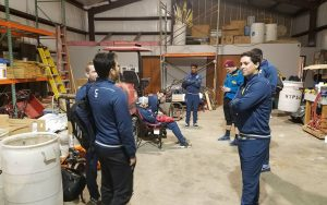 Players from Motagua of New Orleans gather in a warehouse in Balch Springs, Texas, the site of their 2018 US Open Cup qualifying match against NTX Rayados. Photo: Motagua of New Orleans Facebook page