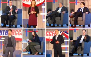 The candidates for US Soccer President (from top left, clockwise): Paul Caligiuri, Kathy Carter, Carlos Cordeiro, Steve Gans, Eric Wynalda, Michael Winograd, Hope Solo, Kyle Martino