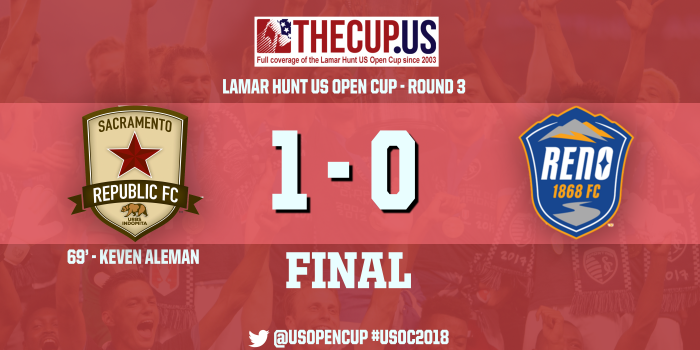 2018 US Open Cup Round 3: Kevin Aleman's stunning free kick lifts Sacramento Republic past Reno 1868 FC
