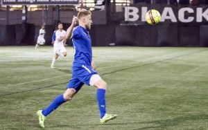 Rasmus Hansen of the Brooklyn Italians chases a loose ball against the New York Cosmos B in the 2018 US Open Cup. Photo: Bob Larson | TheCup.us