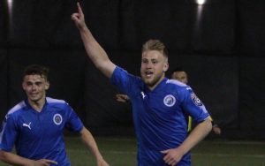 Rasmus Hansen of the Brooklyn Italians celebrates what would be the game-winning goal against the New York Cosmos B in the 2018 US Open Cup. Photo: Bob Larson | TheCup.us