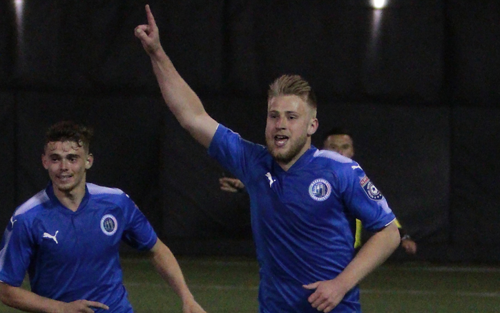 Rasmus Hansen of the Brooklyn Italians celebrates what would be the game-winning goal against the New York Cosmos B in the 2018 US Open Cup. Photo: Bob Larson   TheCup.us
