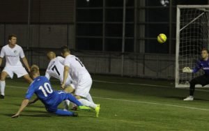 Rasmus Hansen of the Brooklyn Italians scores what would be the game-winning goal against the New York Cosmos B in the 2018 US Open Cup. Photo: Bob Larson   TheCup.us