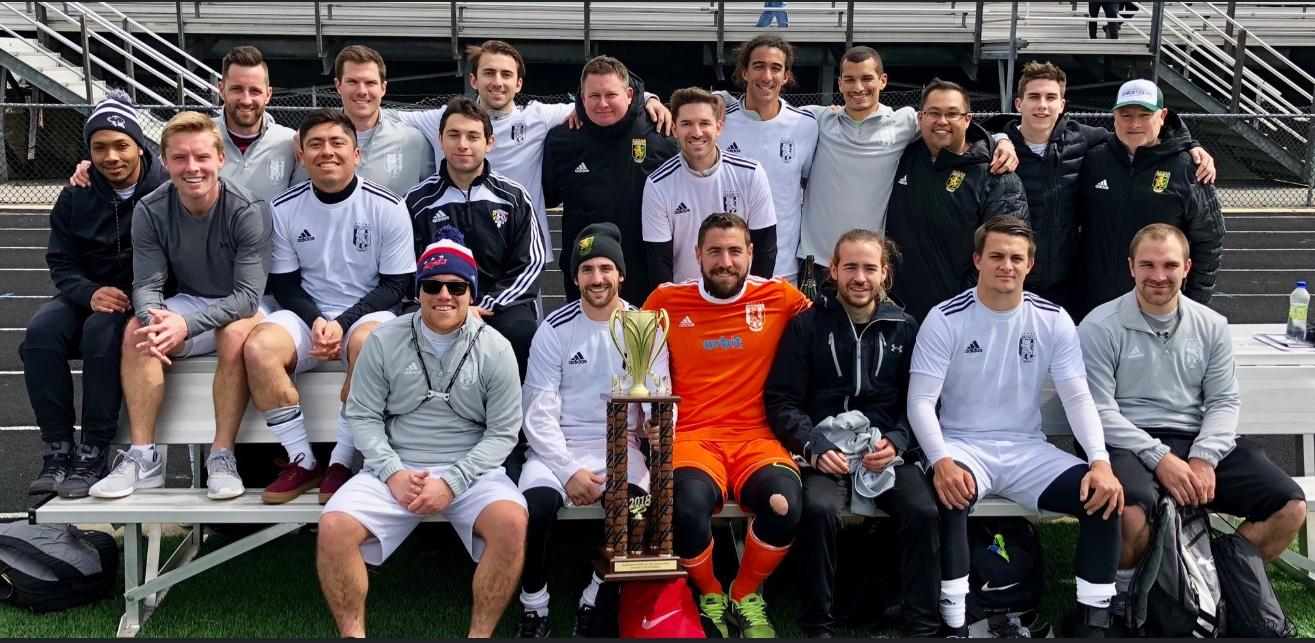 Christos FC poses for a team photo after winning the 2018 Maryland State Cup. Photo: Christos FC