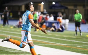 Miami FC 2's newest signing, Dario Suarez, celebrates after coming off the bench and scoring in his debut against FC Miami City in the 2018 US Open Cup. Photo: @LemonCityLive