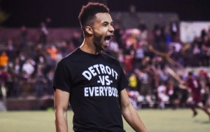 Roddy Green of Detroit City FC celebrates after scoring the game-winning goal in the PK shootout with the Michigan Bucks in the 2018 US Open Cup. Photo: Jon DeBoer | DCFC