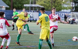 Dilly Duka of FC Motown scores what would be the game-winning goal against the New York Red Bulls U-23s in the 2018 US Open Cup. Photo: Bob Larson | TheCup.us