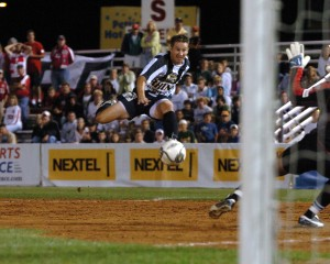Doug Miller of the Rochester Raging Rhinos scores an equalizing goal against the Chicago Fire in the 2005 US Open Cup Quarterfinals. Photo: Rochester Raging Rhinos
