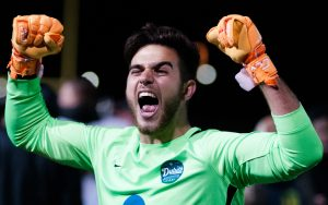 Duluth FC goalkeeper Alberto Ciroi celebrates his team's PK victory over Dakota Fusion FC in the 2018 US Open Cup. Photo: Seth Steffenhagen | Steffenhagen Photography