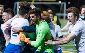 Duluth FC celebrates their PK victory over Dakota Fusion FC in the 2018 US Open Cup. Photo: Seth Steffenhagen | Steffenhagen Photography