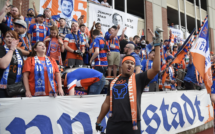 FC Cincinnati fans cheer on their team during a Second Round match in the 2018 US Open Cup against Detroit City FC. Photo: Brett Hansbauer | 4th Floor Creative
