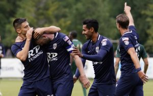 The Jacksonville Armada celebrate their opening goal against The Villages SC in the 6th minute of the club's 2018 US Open Cup Preliminary Round match. Photo: Eldy Mendez | Armada FC