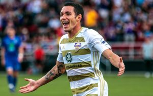 Kyle Smith of Louisville City celebrates a goal against the Long Island Rough Riders in the Second Round of the 2018 US Open Cup. Photo: Mathew Ballard | Louisville City