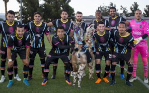 The Las Vegas Lights and their llamas pose for a team photo before their 2018 US Open Cup match against FC Tucson. Photo: L.E. Baskow | Las Vegas Lights